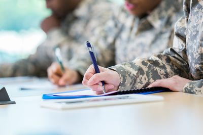 Army recruits taking the ASVAB test.