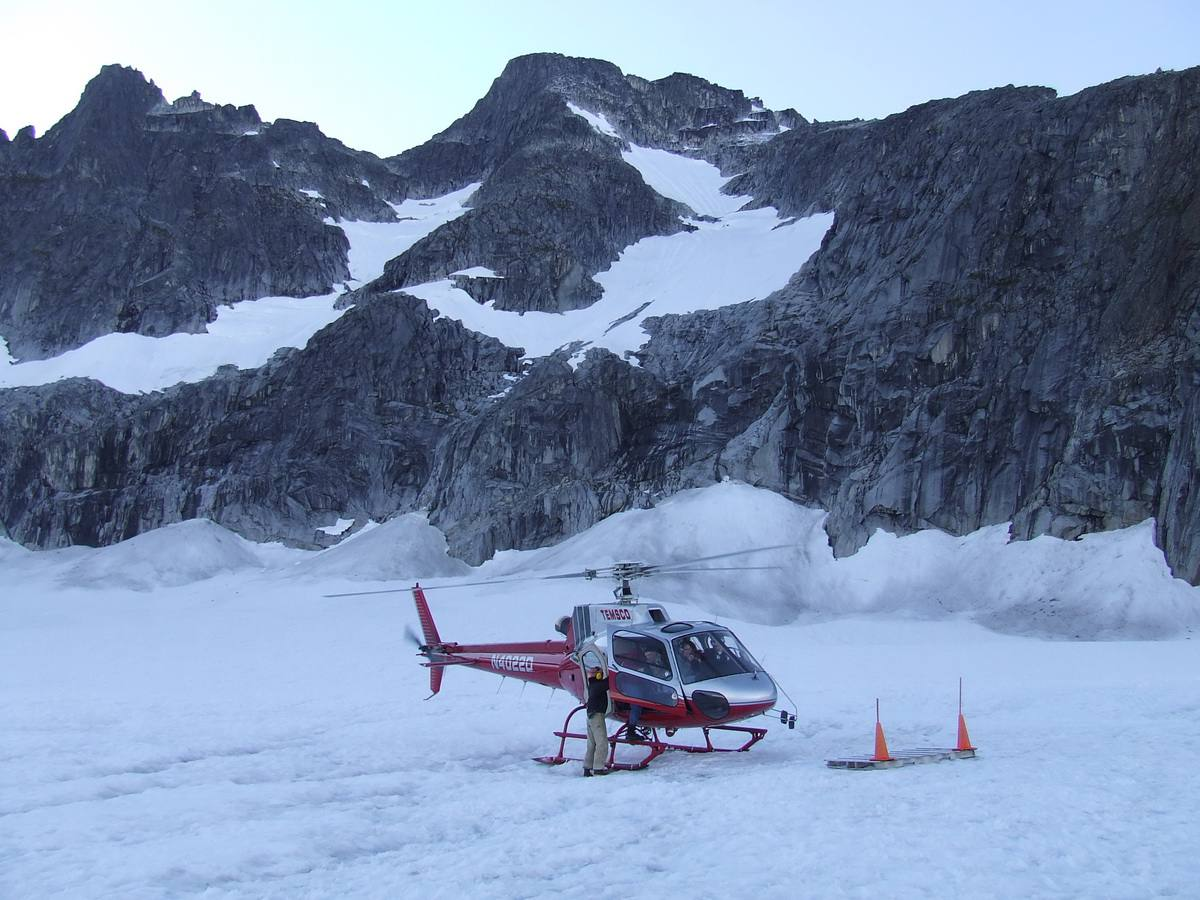 Helicopter on Alaska Icefield
