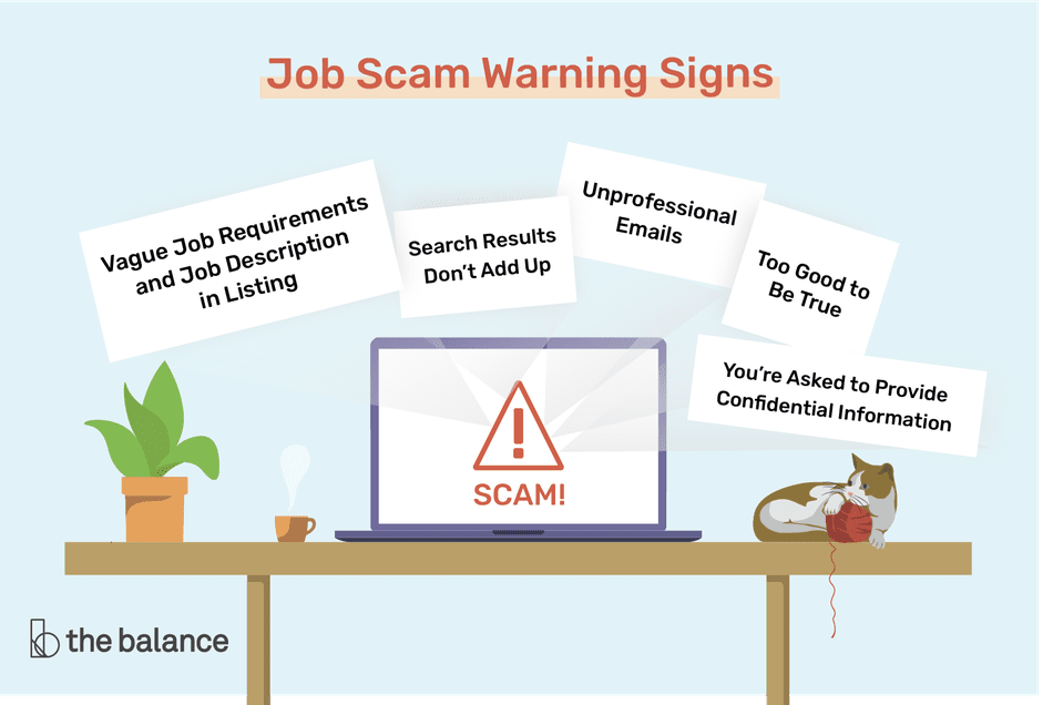 """Job scam warning signs illustration includes """"Vague Job Requirements and Job Description in Listing,"""" """"Search Results Don't Add Up,"""" """"Unprofessional Emails,"""" """"Too Good to Be True,"""" and """"You're Asked to Provide Confidential Information."""""""