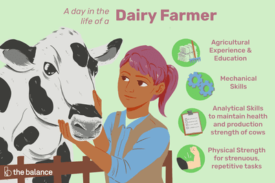 A day in the life of a dairy farmer: Agricultural experience and education, mechanical skills, analytical skills to maintain health and production strength of cows, physical strength for strenuous, repetitive tasks