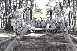 U.S. Army infantry recruits tackle the confidence course on their fifth day of one station unit training on Fort Benning, Ga., Nov. 3, 2009.