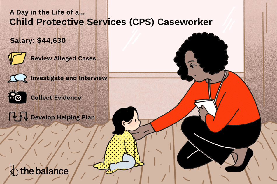 Image shows a child protective services (CPS) caseworker kneeling on the ground with a small child, touching her shoulder in a comforting manner. Text reads: