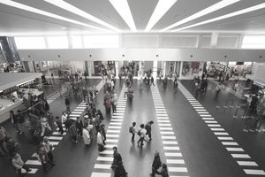 Departure lobby at the airport, high angle view, Kobe Airport, Kobe City, Hyogo Prefecture, Kinki Region, Japan