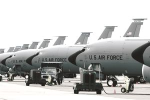 KC-135 Stratotankers from various units are at Eielson Air Force Base