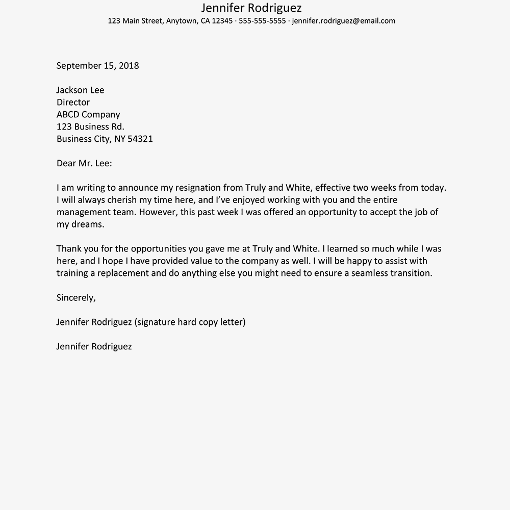 resignation with no notice letter example text version