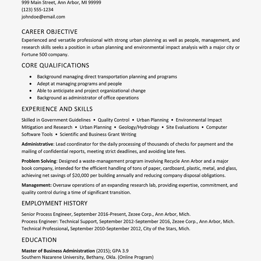 functional resume example and writing tips