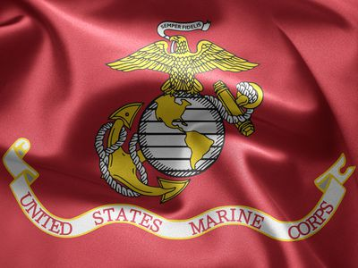 A Red flag of the United States Marine Corps