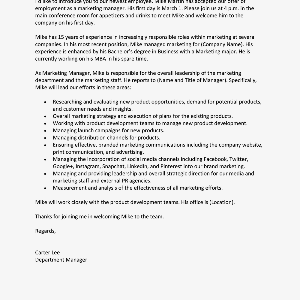 screenshot of a new employee introduction letter template