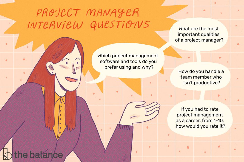 "Image shows a woman speaking. Text is within speech bubbles. Text reads: ""Project manager interview questions: which project management software and tools do you prefer using and why? what are the most important qualities of a project manager? how do you handle a team member who isn't productive? if you had to rate project management as a career from 1-10, how would you rate it?"""