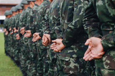 Close-Up Of Soldiers In A Row