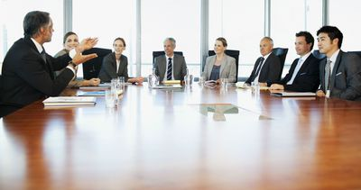 Project board meeting in a conference room