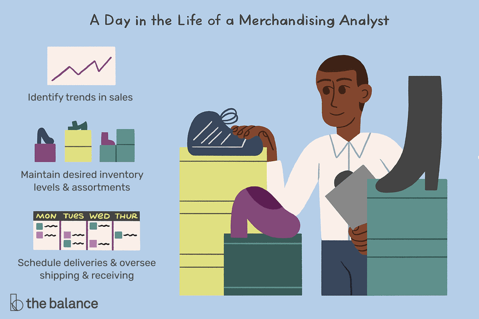 A day in the life of a merchandising analyst: Identify trends in sales, maintain desired inventory levels and assortments, schedule deliveries and oversee shipping and receiving