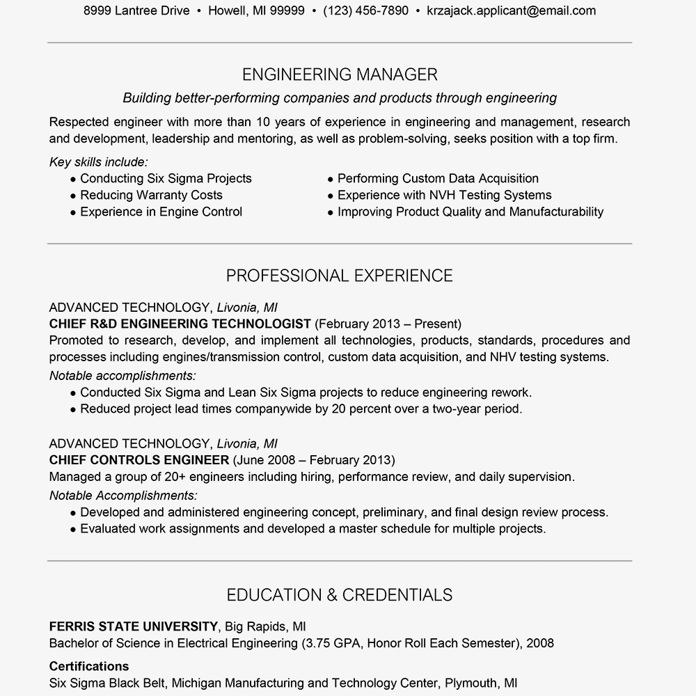 Engineer Resume Example Text Version