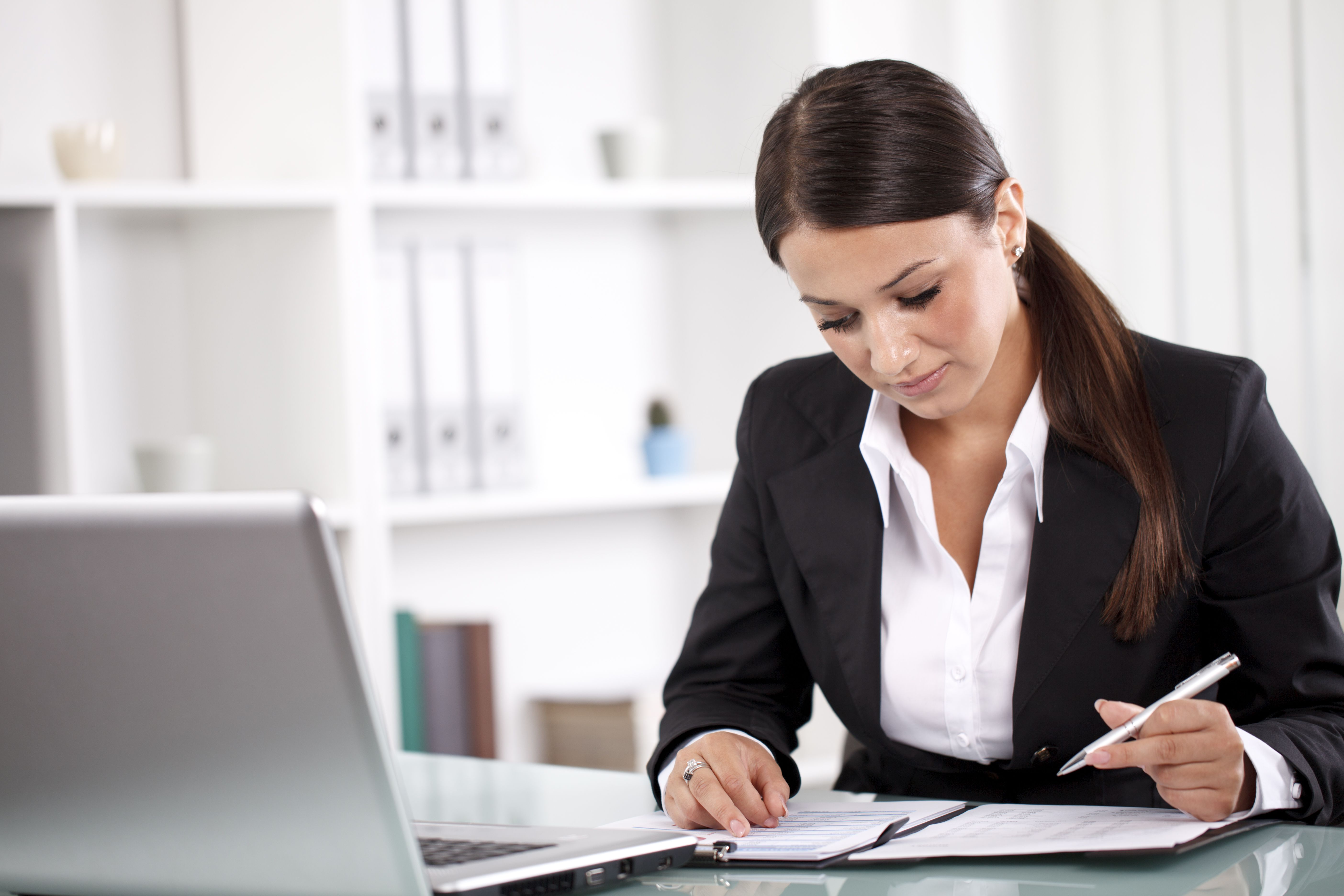 young woman working on interview questions