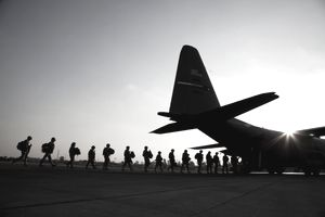 American troops board a US Airforce C130