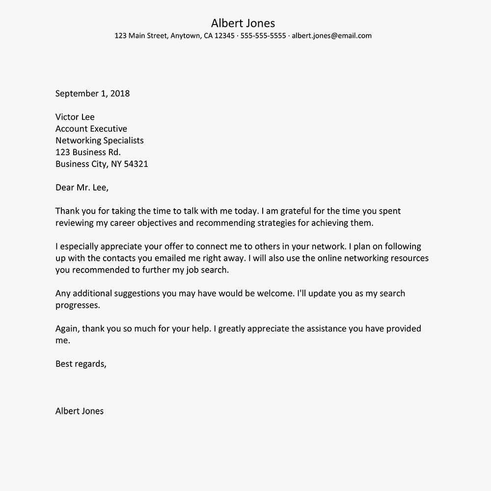 screenshot of a networking thank you letter example