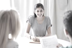 Young woman interviewing for an entry level job.