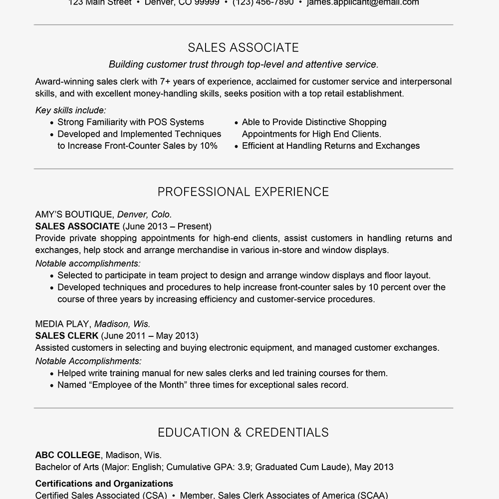 Resume Example With A Headline And A Profile