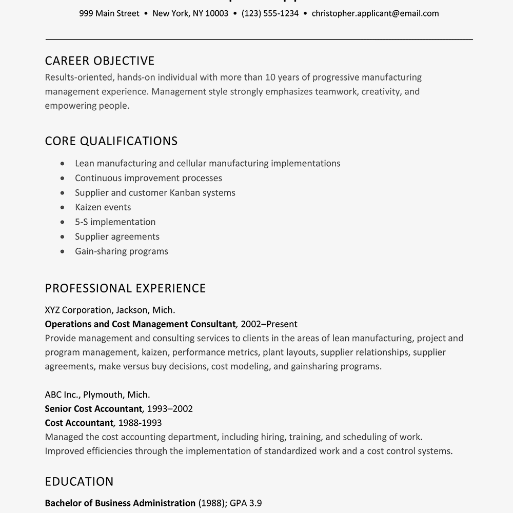 see a sample of a superior resume