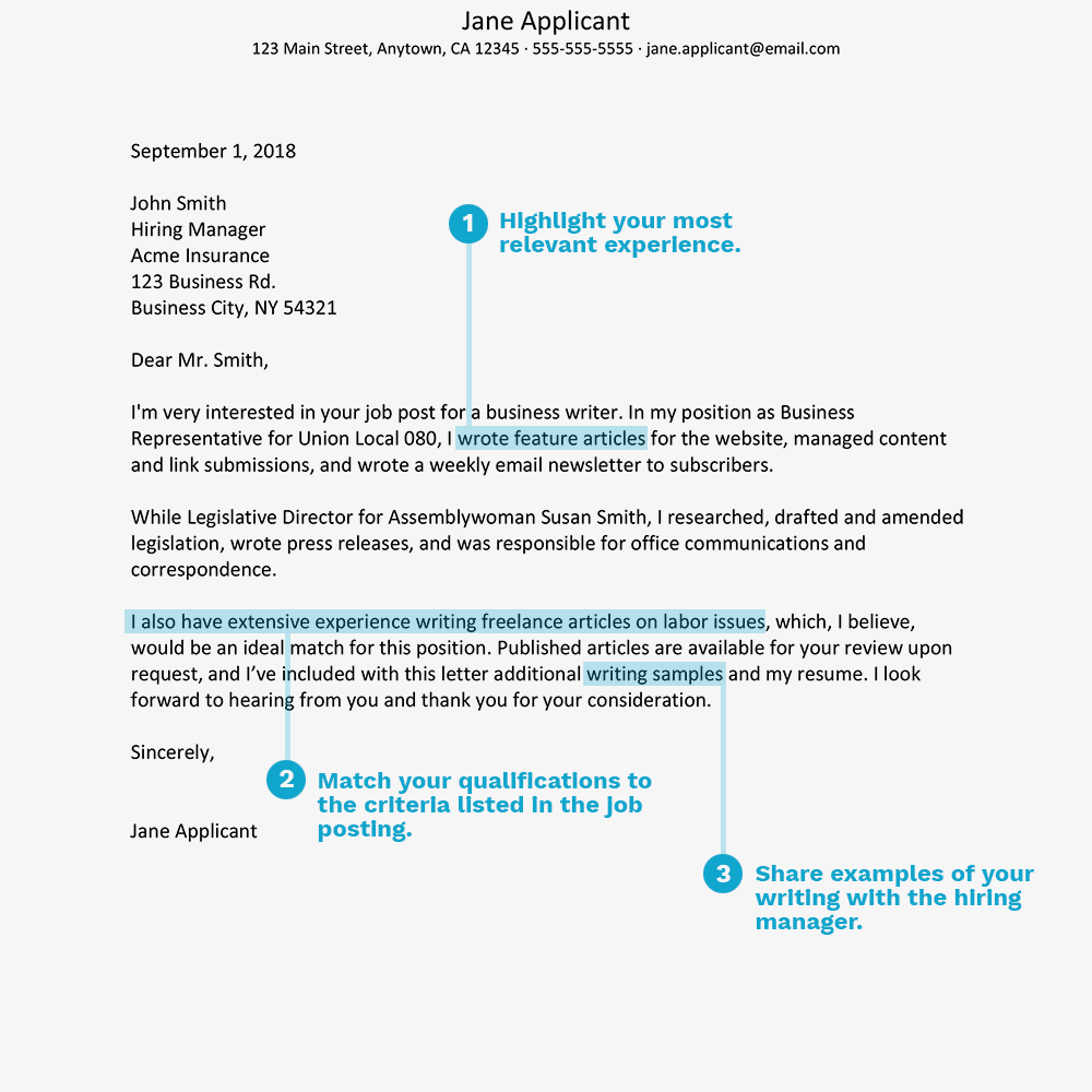 screenshot of a sample cover letter for a writing position