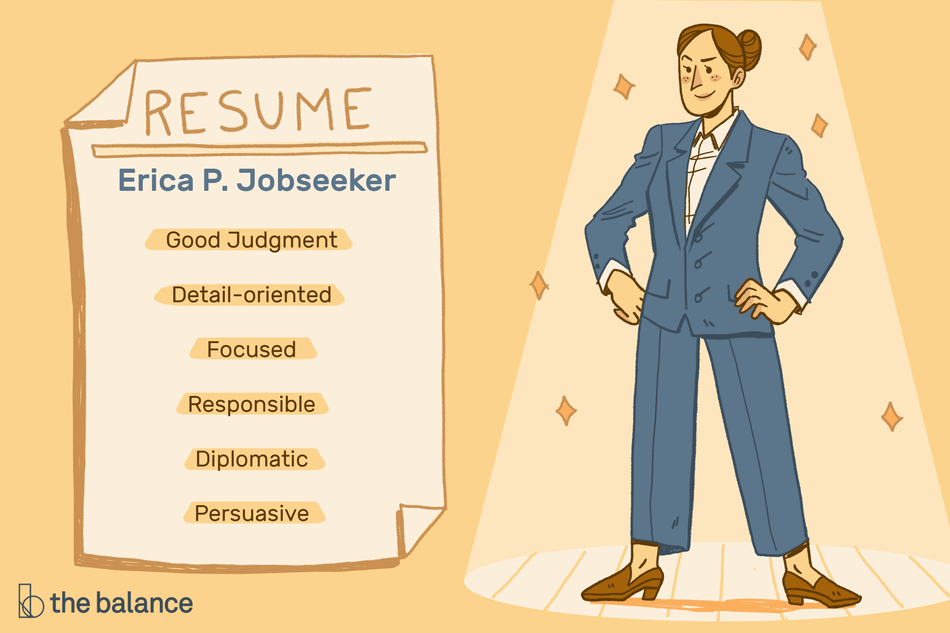 "Image shows a woman wearing a blue suit and loafers, standing in a power stance under a spotlight. There is a large, human sized piece of paper next to the woman that says: ""RESUME: Erica P. Jobseeker: Good judgement, detail-oriented, focused, responsible, diplomatic, persuasive"""