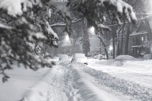 Snowy street because of inclement weather during the winter