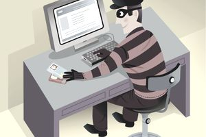 Illustration of a man wearing a mask using a computer.