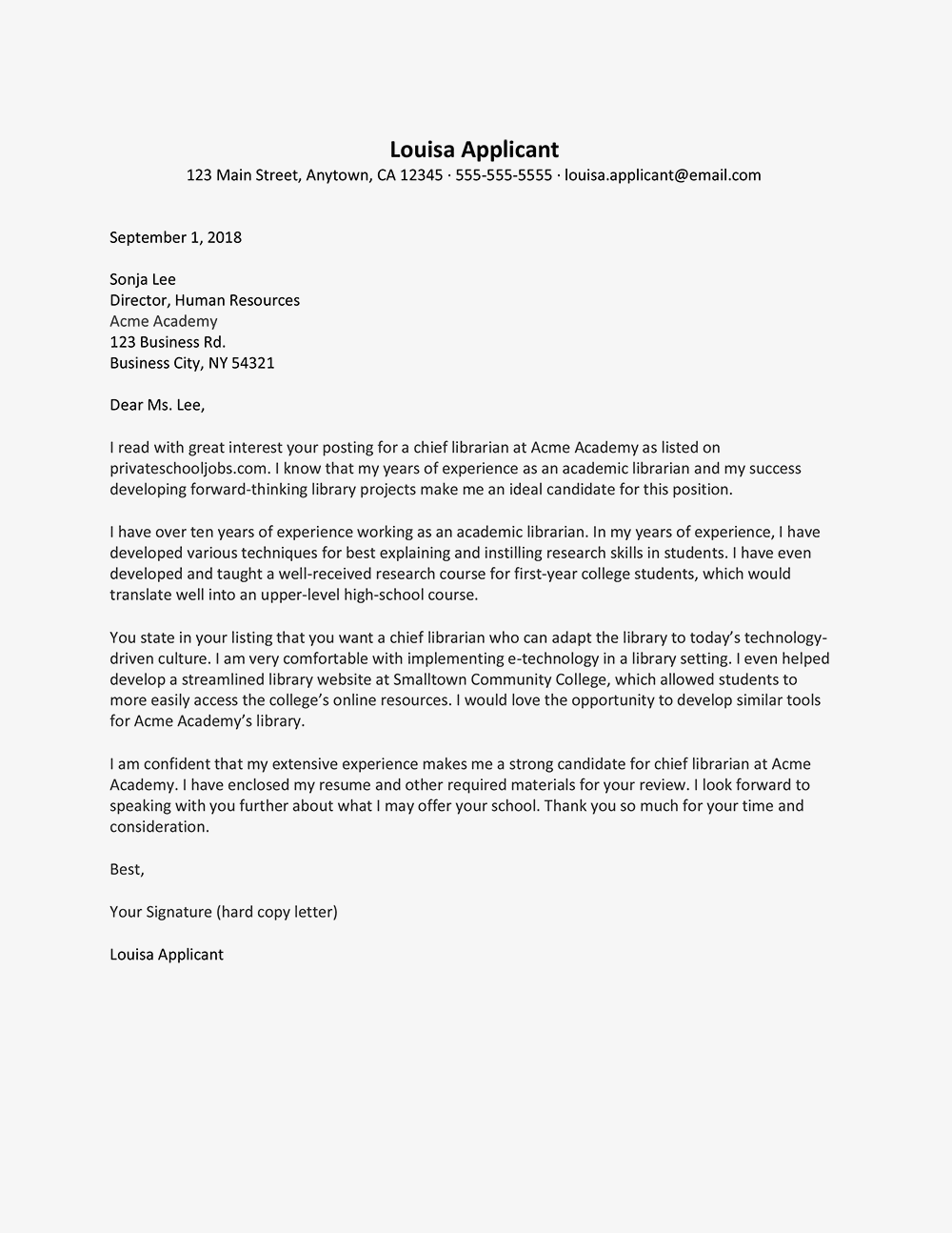 librarian cover letter and resume examples