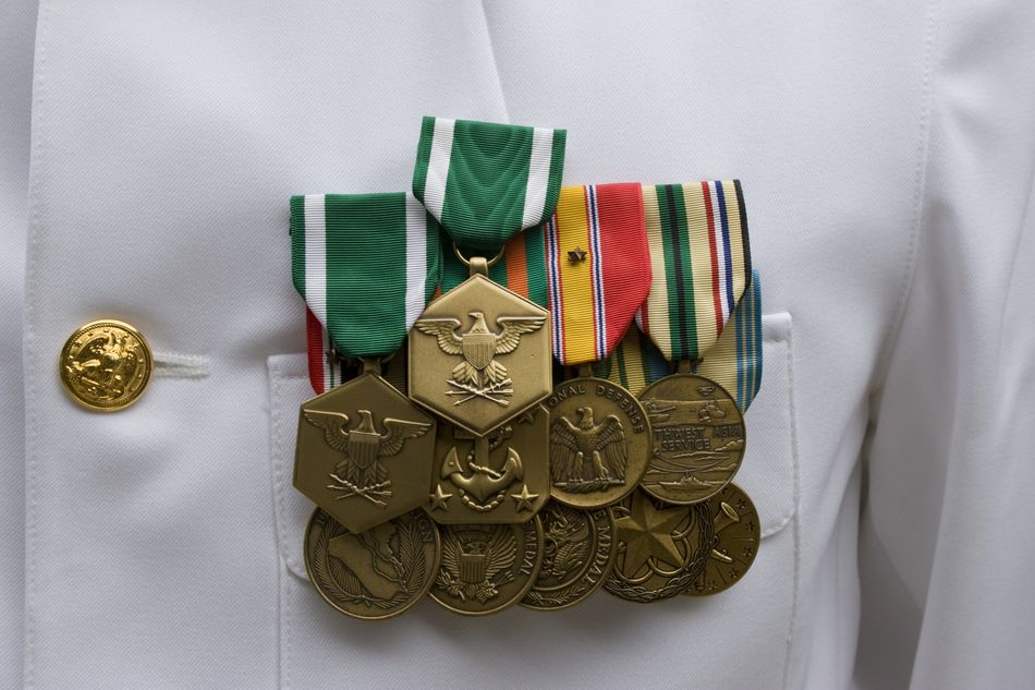 medals on a soldiers breast