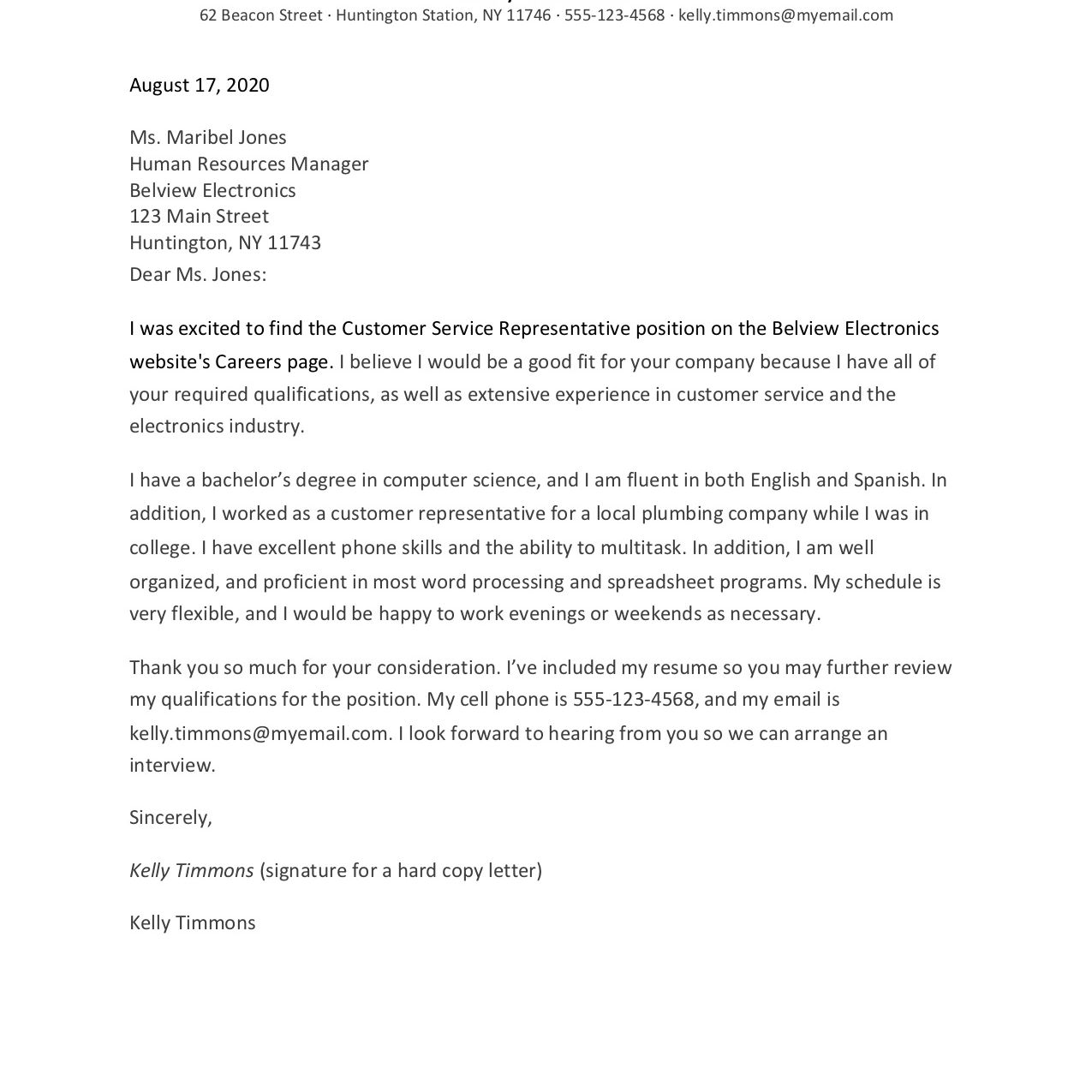 Cover Letter Customer Service Representative from www.thebalancecareers.com