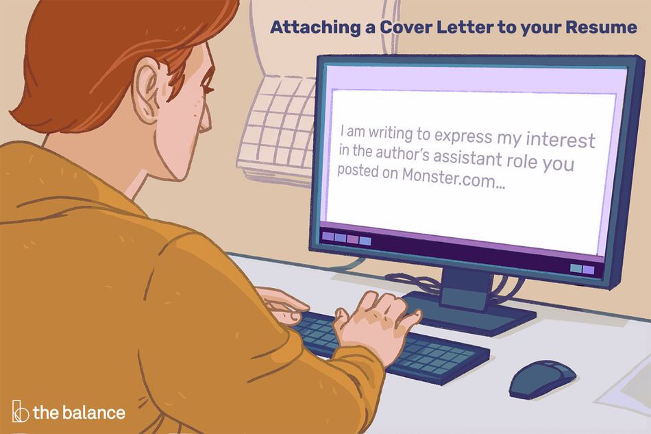 "Attaching a cover letter to your resume. Man sitting at a desk, on his computer it reads in a word document: ""I am writing to express my interest in the author's assistant role you posted on Monster.com..."