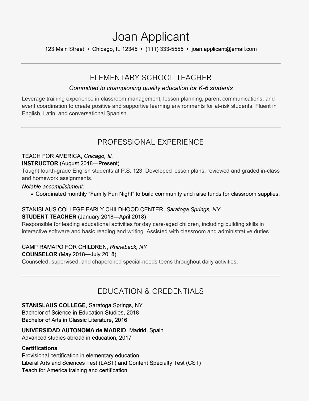 Sample Cover Letter And Resume For A Teacher