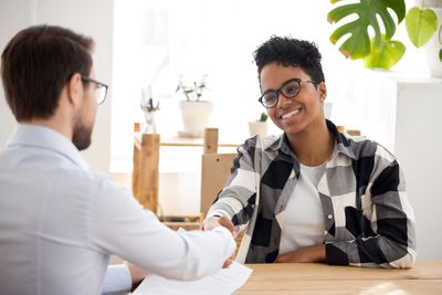 Woman interviewing for a job