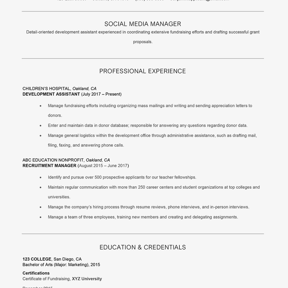 Resume Example With A Branding Statement Text Version