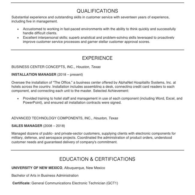 Screenshot of a customer service manager resume example