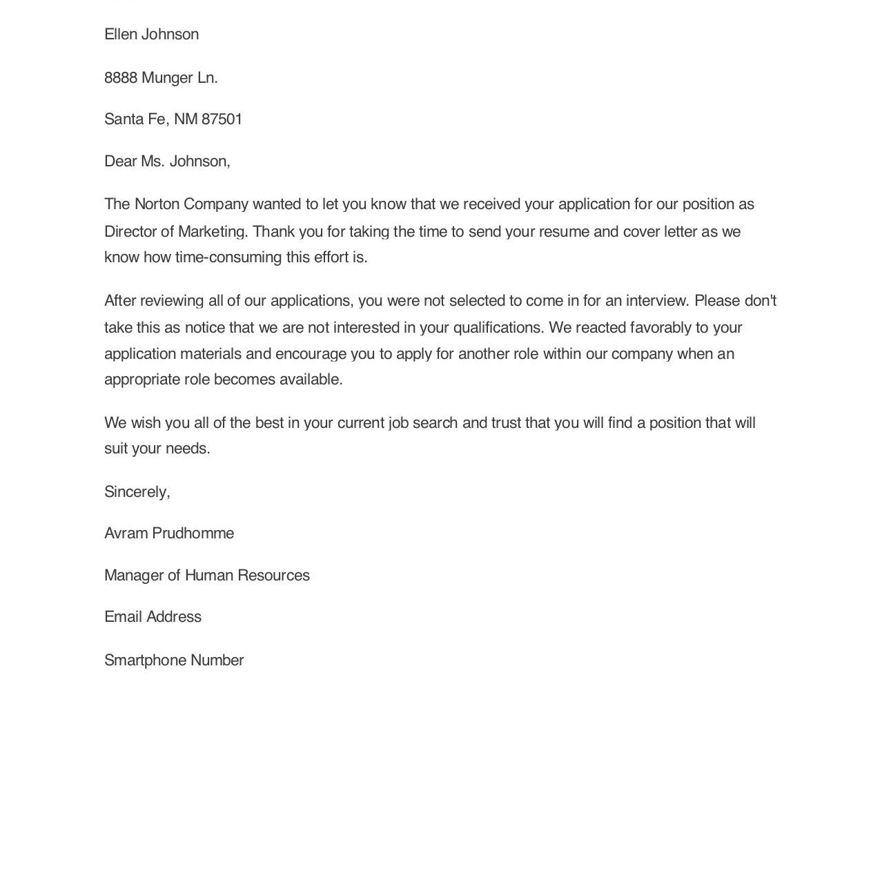 Sample Rejection Letters for Unsuccessful Applicants