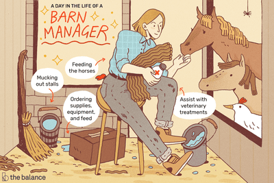 A day in the life of a barn manager: Mucking out stalls; feeding horses; ordering supplies, equipment, and feed; assist with veterinary treatments