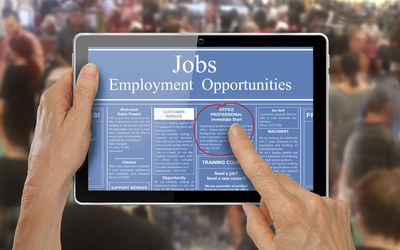 online job ad circled on a tablet