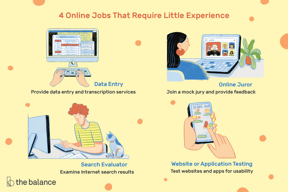 Data entry, online juror, search evaluator, and app tester shown as four jobs that require little experience