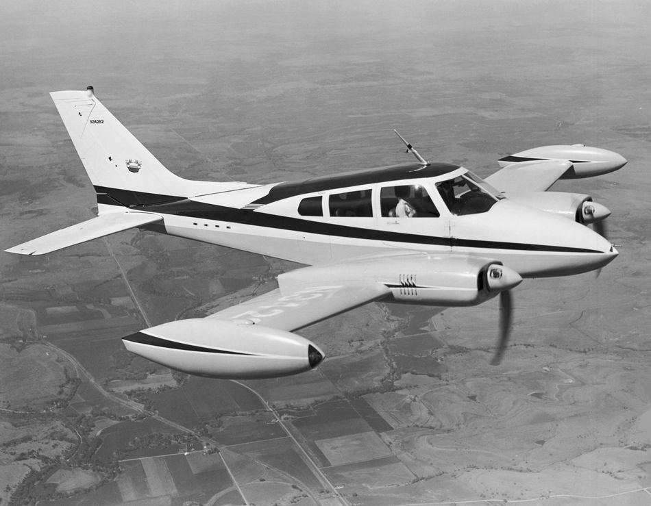 High angle view of an aircraft in flight, Cessna 310F