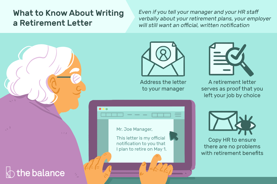 This illustration shows what to know about writing a retirement letter. Even if you tell your manager and your HR staff verbally about your retirement plans, your employer will still want an official, written notification. Address the letter to your manager, a retirement letter serves as proof that you left your job by choice, and copy HR to ensure there are no problems with retirement benefits.