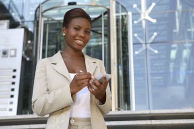 Business woman outside building