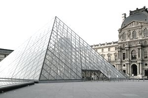 Glass pyramid of the Louvre Museum in Paris