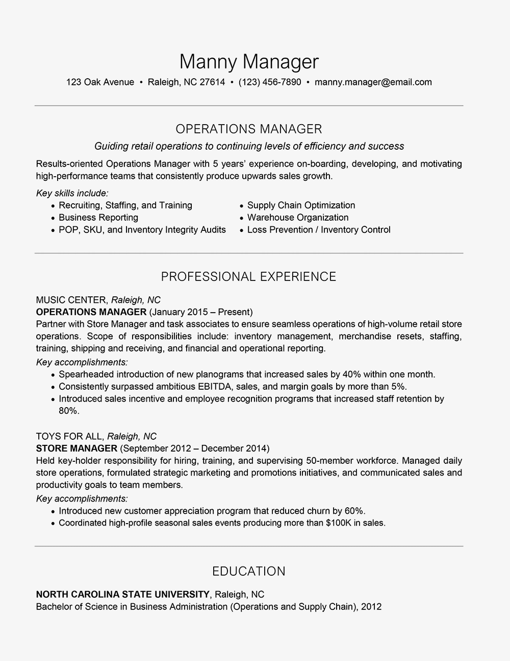 Resume Examples For Managers | Management Resume Examples And Writing Tips