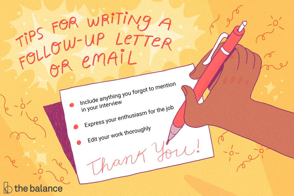 "Image shows a hand writing a thank-you note. Text reads: ""Tips for writing a follow-up letter or email: include anything you forgot to mention in your interview, express your enthusiasm for the job, edit your work thoroughly."""