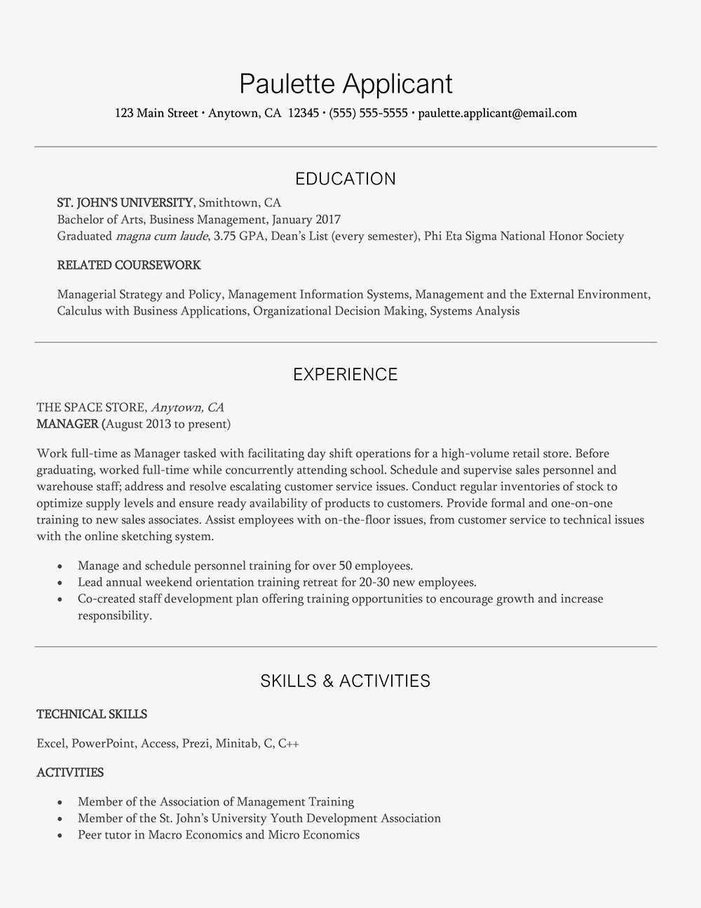 entry level management resume example and writing tips