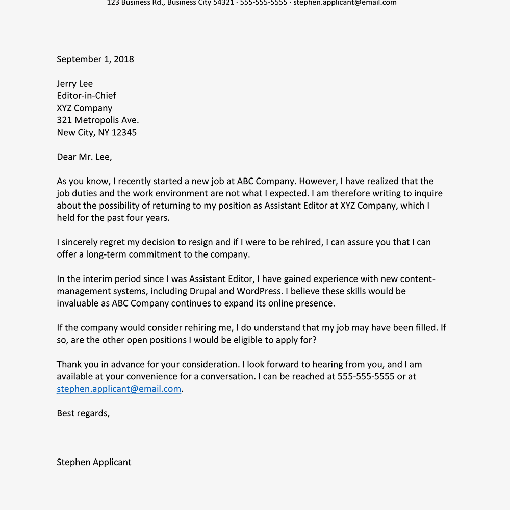 Tips for writing a letter asking for your job back letter example to ask for a job back text version expocarfo Gallery