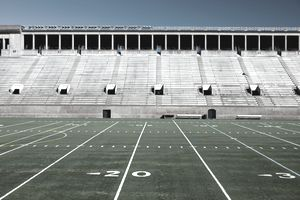 An empty NFL football stadium before the opening game.