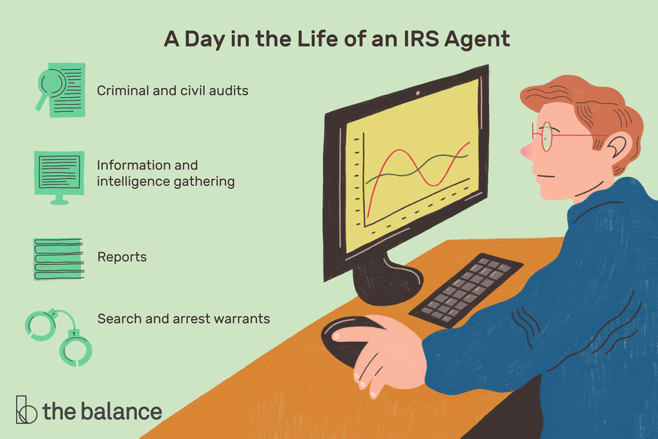 "This illustration includes a day in the life of an IRS agent including ""Criminal and civil audits,"" ""Information and intelligence gathering,"" ""Reports,"" and ""Search and arrest warrants."""