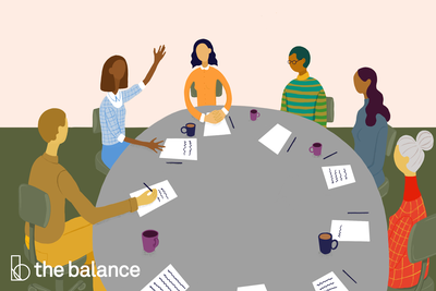 This illustration depicts a roundtable meeting with one of the attendees breaking the ice.